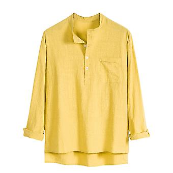 Silktaa Men's Solid Color Casual Stand-up Collar Long-sleeved Beach Shirt