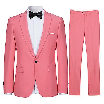 Silktaa Men's Two-piece Flat Collar Solid Color Single Row One Button Suit Jacket And Trousers