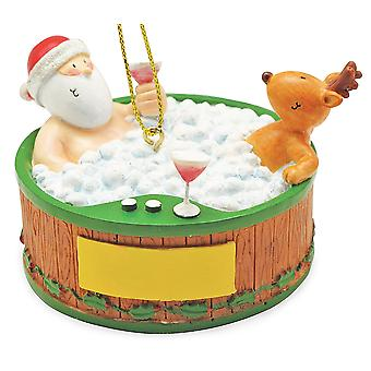 Cape Shore Santa and Reindeer Relaxing in Hot Tub Christmas Holiday Ornament