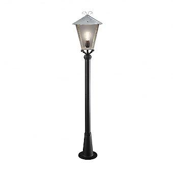 Konstsmide Benu Galvanized Silver Lantern And Black Post