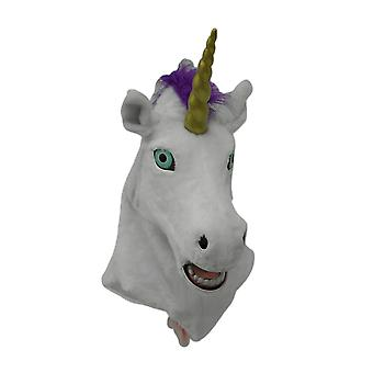White Rainbow Unicorn Moving Mouth Faux Fur Adult Costume Mask