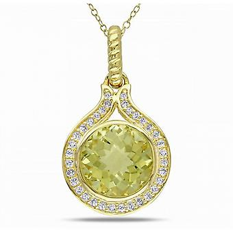Affici Sterling Silver Pendant with Chain 18ct Yellow Gold Plated ~ Yellow Diamond CZ Gem