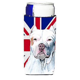 Pit Bull mit englischen Union Jack britische Flagge Ultra Getränke Isolatoren für schlanke