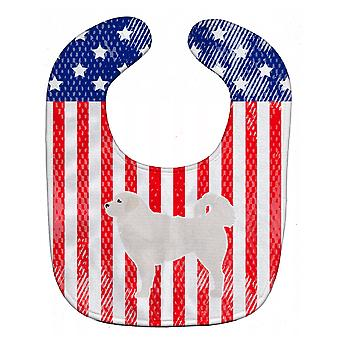 Carolines skarby BB3327BIB USA patriotyczne Polski Owczarek podhalański Baby Bib