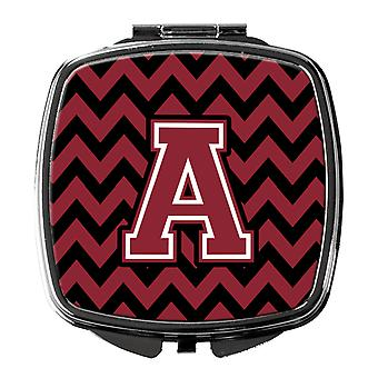 Letter A Chevron Garnet and Black  Compact Mirror