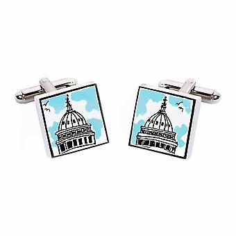 Capitol Building Cufflinks by Sonia Spencer, in Presentation Gift Box. Hand painted