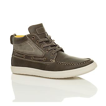Ajvani mens flat lace opp casual båt kontrast Hei høy beste trenere ankel boots sko sneakers pumper