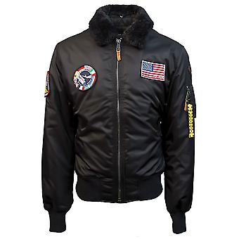 Top Gun B 15 Nylon Bomber Jacket with Removable Patches