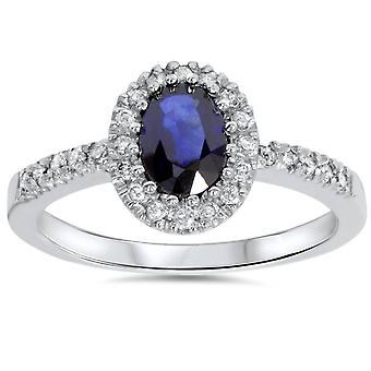 3 / 4ct ovale blauwe saffier Halo Diamond Ring 14K White Gold