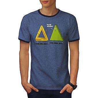 Illuusio mahdotonta miehet Heather musta / NavyRinger t-paita | Wellcoda