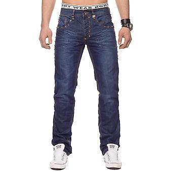 Мужчины камень промывают 5-карманные джинсы брюки Чарльстон клепка темно-синий