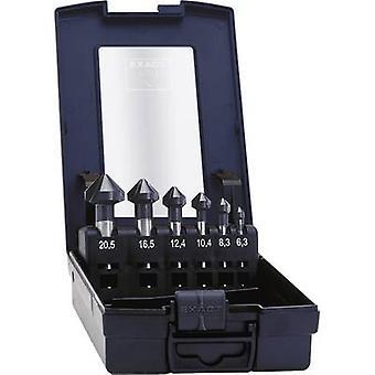 Exakt 51157 försänk set 6-delat 6,3 mm, 8,3 mm, 10,4 mm, 12,4 mm, 16,5 mm, 20,5 mm HSS TiAIN cylinder skaft 1 set