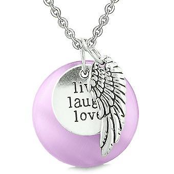 Guardian Angel Wing Live lachen liebe inspirierende magische Amulett lila simuliert Cats Eye Halskette