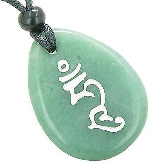 HUM tibétain unité Indivisible sagesse syllabe bonne chance amulette Totem Aventurine verte collier