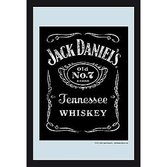 Jack Daniel's Black Label Vintage mirror wall mirror with black plastic framing wood