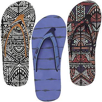 Tier Swish Slip oberen Womens Holiday Beach Sandalen Flip Flops - blau / schwarz