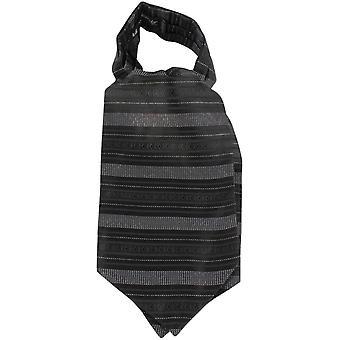 Knightsbridge halsdukar horisontell rand Silk kravatt - svart/vit