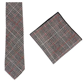 Knightsbridge Neckwear Prince of Wales Check Tie and Pocket Square Set - Black/Red