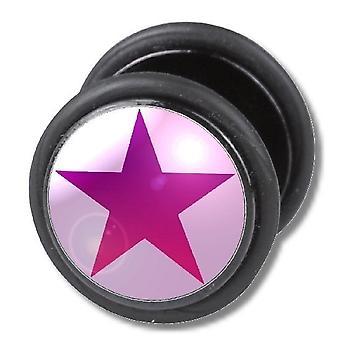 Fake Cheater ouvido Plug, brinco, joias de corpo, estrela-de-rosa
