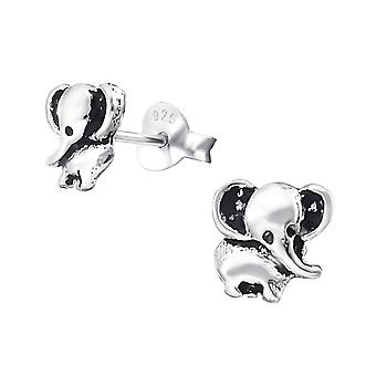 Elephant - 925 Sterling Silver Plain Ear Studs - W20524X