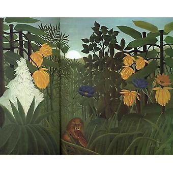 ライオン&アミール、アンリ・ルソー、50x40 cm