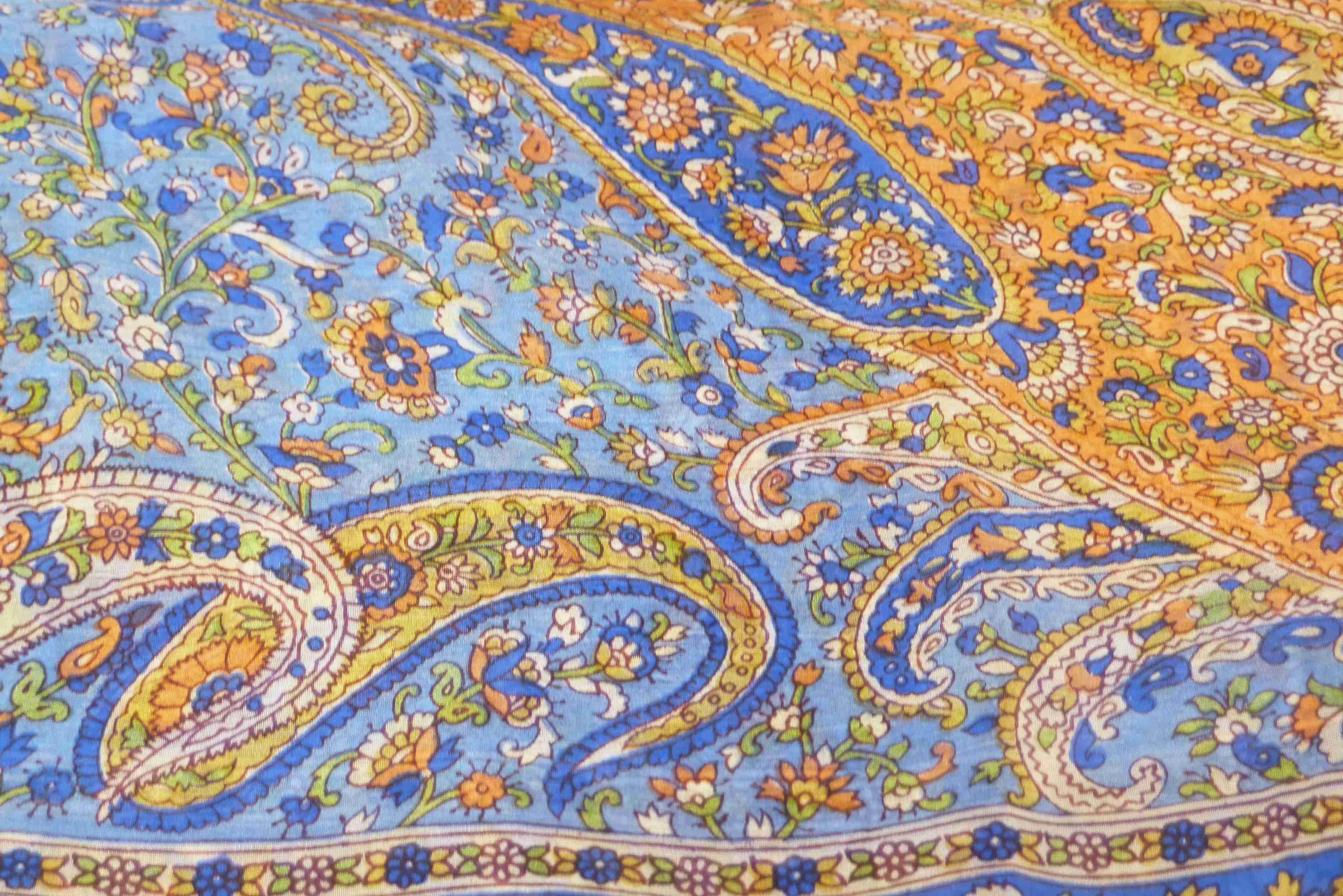 Mulberry Silk Traditional Square Scarf Vishwa Blue by Pashmina & Silk