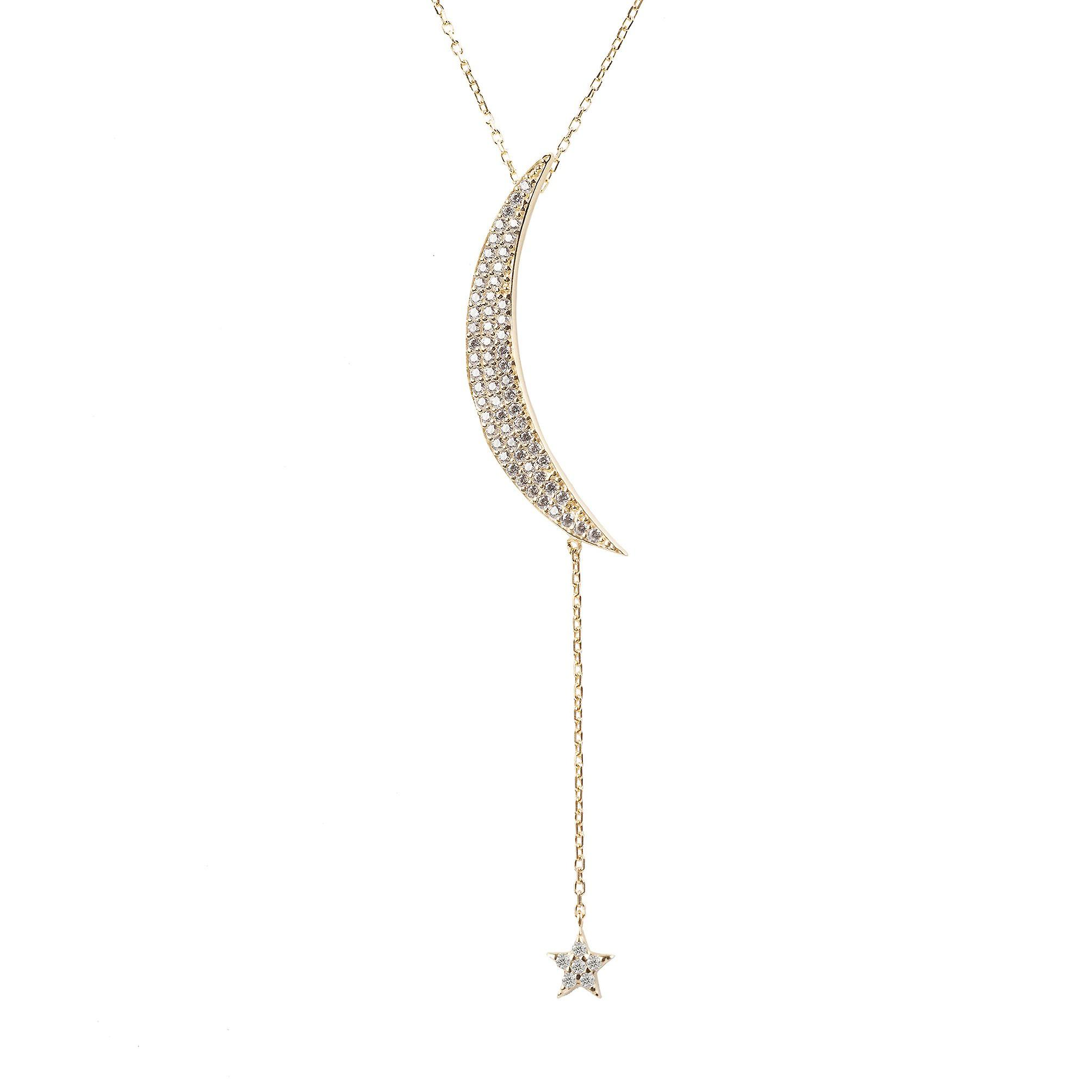 Latelita Pendant Necklace Moon Star Gold Sterling Silver Yellow CZ 925 Crescent