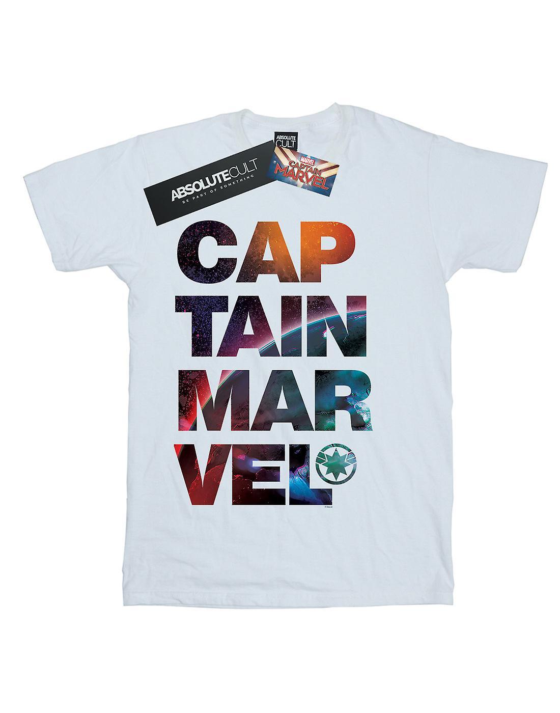 Marvel Women's Captain Marvel Space Text Boyfriend Fit T-Shirt