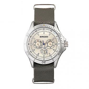 Föder upp Dixon läder-Band Watch w/dag/datum-Silver/grå