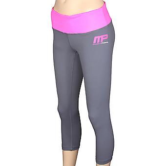MusclePharm Womens 3/4 Compression Leggings - Gray/Pink
