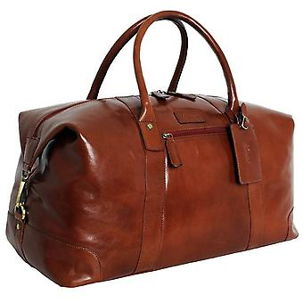 Ashwood Leather Chelsea Veg Tan Lewis Extra Large Travel Holdall - Chestnut
