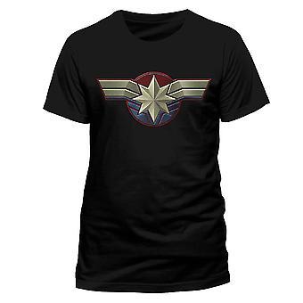 Men's Captain Marvel Logo Crew Neck T-Shirt