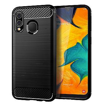 Samsung Galaxy A40 TPU geval Carbon Fiber Optics geborsteld bescherming geval zwart