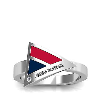 Los Angeles Angels Engraved Sterling Silver Diamond Geometric Ring In Red and Blue