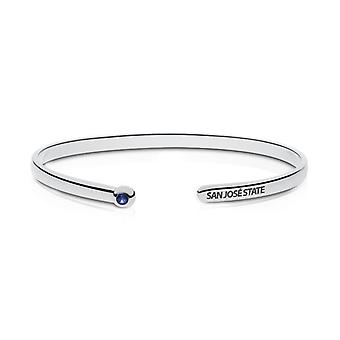 San Jose State University Engraved Sterling Silver Sapphire Cuff Bracelet
