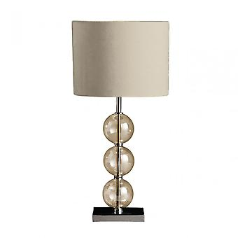 Premier Home Mistro Table Lamp, Stainless Steel, Suede, Cream
