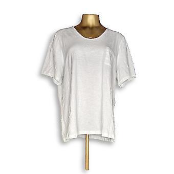 Denim & Co. Women ' s top Essentials getextureerde brei wit A304435