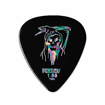 6 Pickboy Guitar Picks/Plectrums - Heavy Metal Reaper  - Black - Heavy 1.00mm