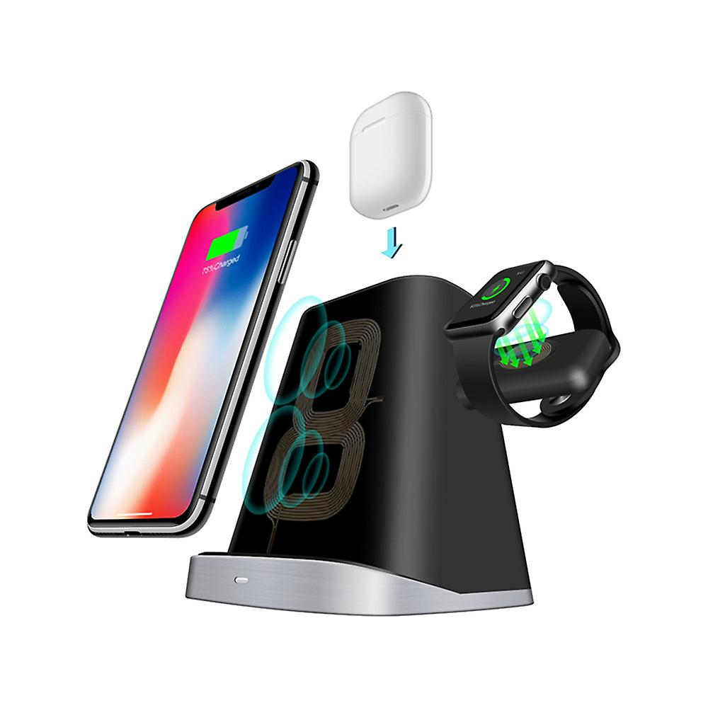 TRITINA Wireless Charger Stand 10W 3-in-1 Charging Compatible with Airpods, Iwatch Smartphone iPhone, Android phone Fast-Charging Galaxy S10/S9/S9+/S8/S8+/Note 9/Note 8 (No AC Adapter)