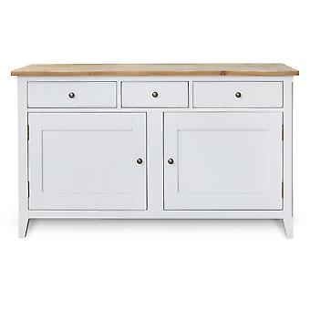 Signature Range Large Sideboard With Two Cupboards Three Drawers Solid Wood Grey