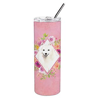 Japanese Spitz Pink Flowers Double Walled Stainless Steel 20 oz Skinny Tumbler