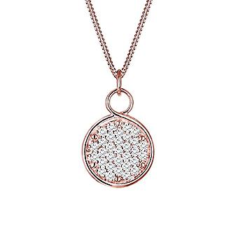 Elli Necklace with Silver Woman Pendant 925 - Rose Gold Plate with Cubic Zirconia - 45 cm