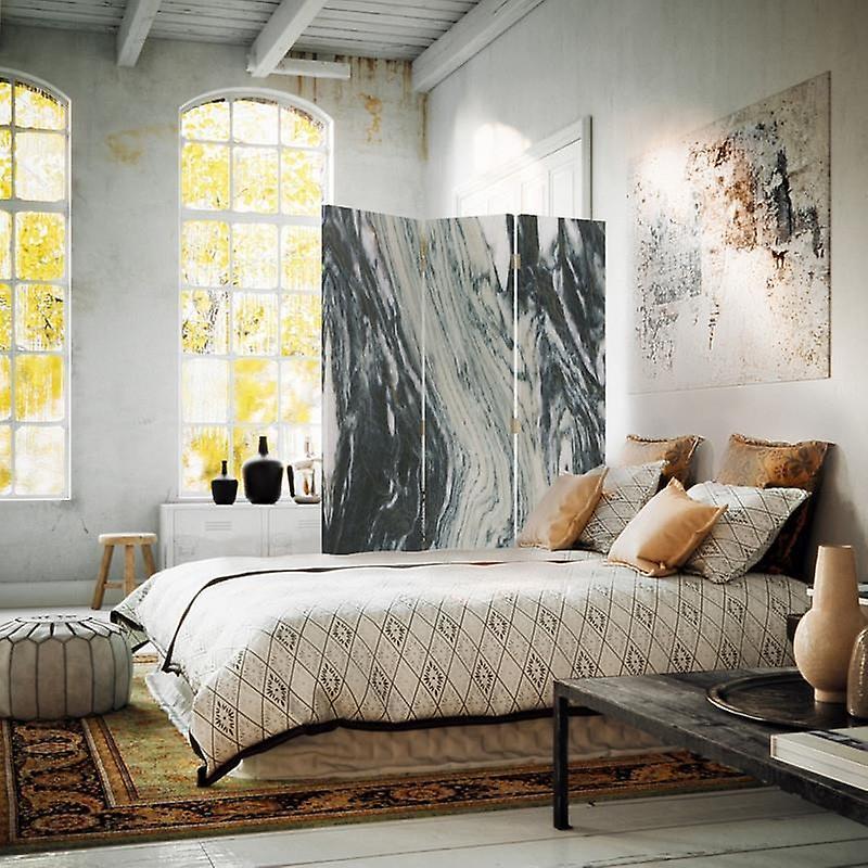 Diviseur de chambre, 3 panneaux, double-sided, Rotatable 360, toile, marbre