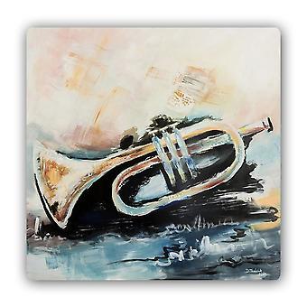 Metalen print, trompet