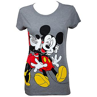 Mickey and Minnie Kissing Women's Grey T-Shirt