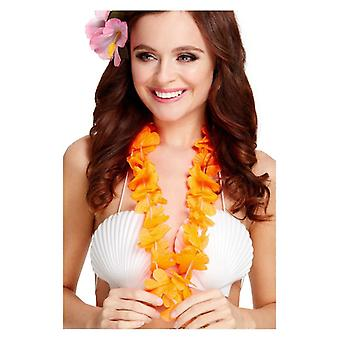 Womens Girls Orange Hawaiian Lei Fancy Dress Accessory
