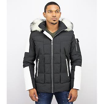 Winter coat - With Fake Fur Collar - Black