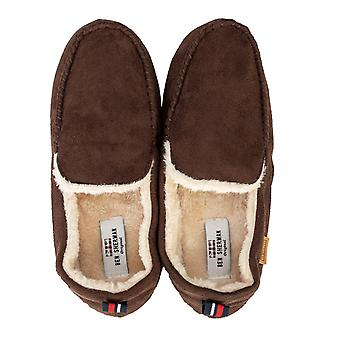 Mens Ben Sherman Four Season Moccasin Slipper In Brown- Slip On- Cushioned
