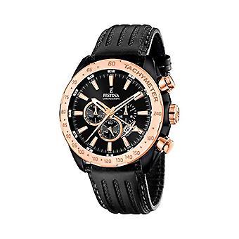 שעון קוורץ של גברים מפלגה עם תצוגה הכרונוגרף ורצועת עור שחורה F16899/1