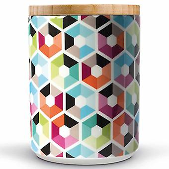 Remember porcelain jar with wooden lid Hexagon 12.5 x 12.5 x 16.2 cm